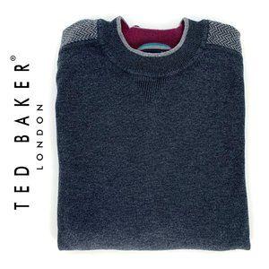 TED BAKER London Gray Sweater men sz 3 Herringbone